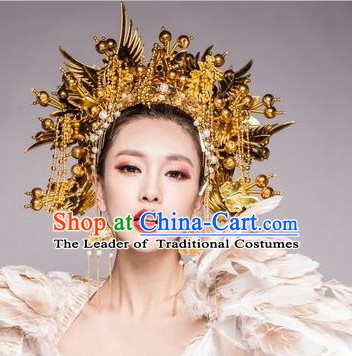 Chinese Ancient Stage Opera Performance Gold Phoenix Coronet