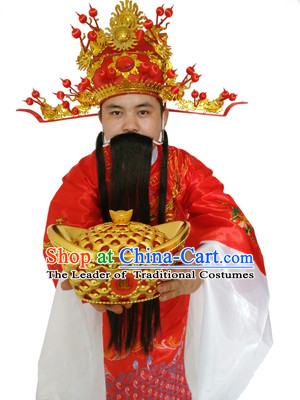 Ancient Chinese God Of Wealth Costume Accessories Set Cai Shen New Year Celebration Clothing Caishen Dress