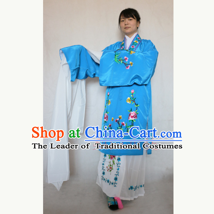 Ancient Peking Opera Costume Drama Female Yueju Opera Drama Miss Dance Costumes Huadan Long Sleeve Costumes and Skirt for Women