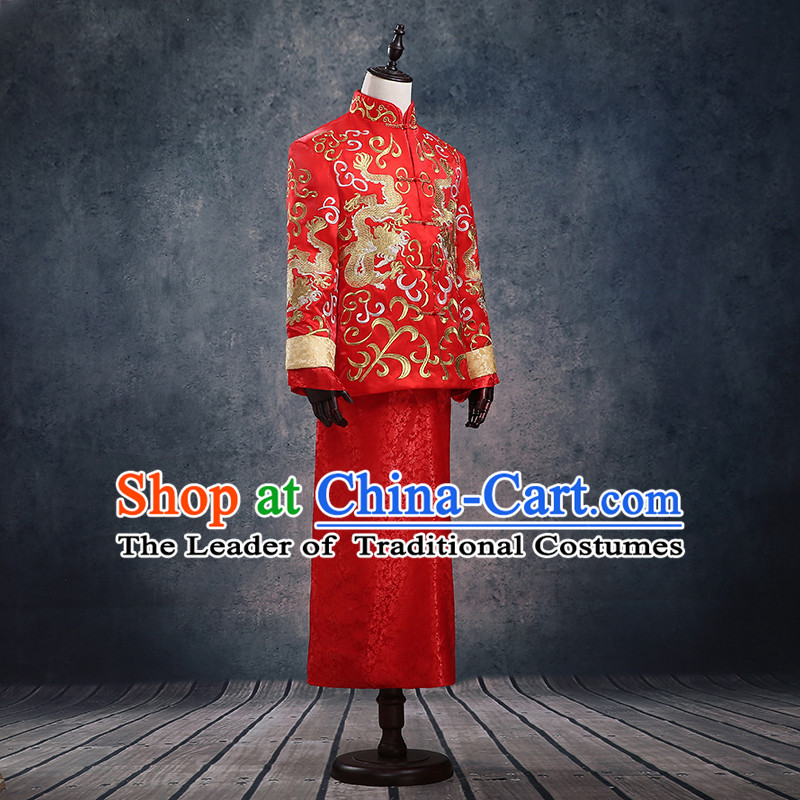 Ancient Chinese Costume Chinese Style Wedding Dress, Ancient Dragon And Phoenix Flown, Groom Toast Clothing, Mandarin Jacket For Men