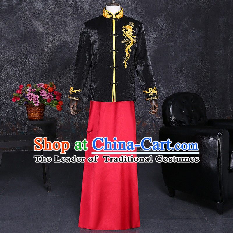Ancient Chinese Costume, Chinese Style Wedding Dress, Ancient Long Dragon Flown, Groom Toast Clothing Mandarin Jacket For Men