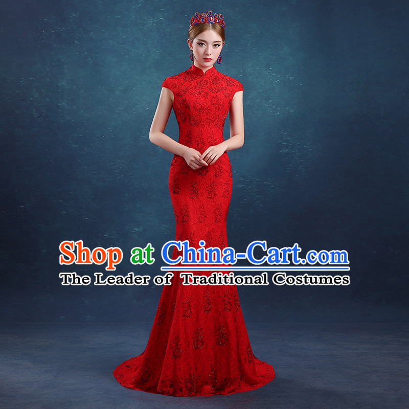 Ancient Chinese Bride Toast Clothing Cheongsam, Red Long Fishtail Wedding Dress, Traditional Female Chinese Style Bottom Drawer For Women