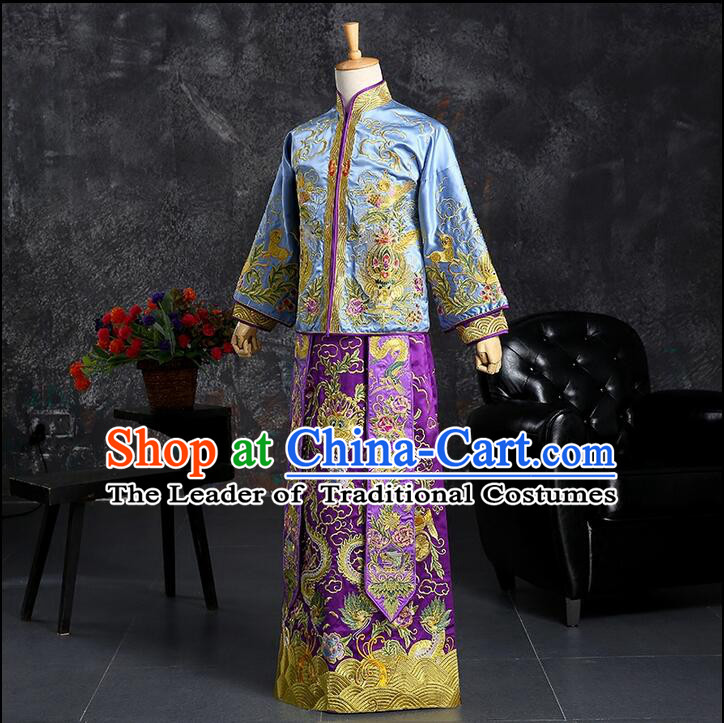 Ancient Chinese Costume Chinese Style Wedding Dress, Ancient Long Dragon And Phoenix Flown, Groom Toast Clothing For Men
