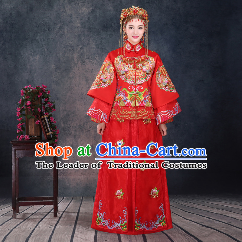Ancient Chinese Costume, Xiuhe Suits, Chinese Style Wedding Dress, Red Restoring Ancient Women Longfeng Dragon And Phoenix Flown, Bride Toast Cheongsam