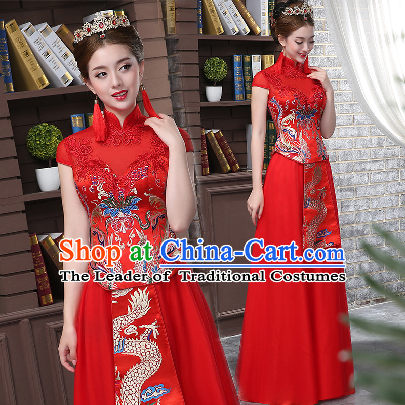Ancient Chinese Collar Costume, Dress, Toast Red Cheongsam, Xiuhe Suits Wedding Dress, Red Ancient Women Flown, Bride Cheongsam