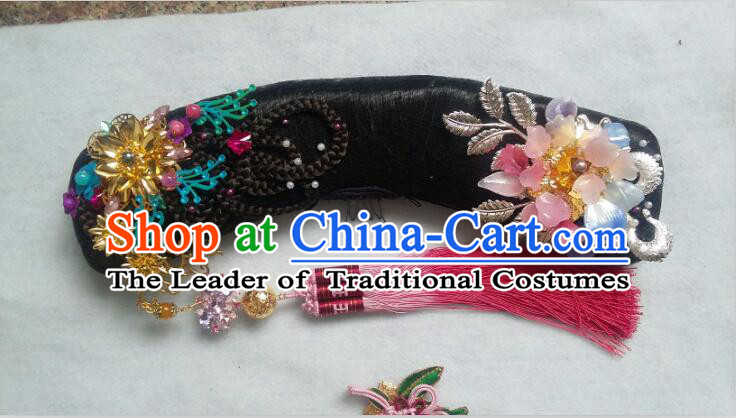 Chinese Qing Dynasty Zhen Huan An Lingrong Black Wigs and Headpieces