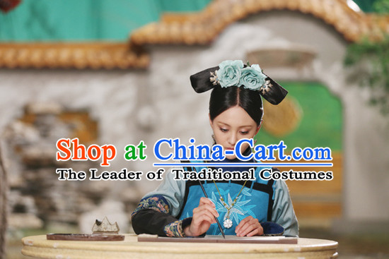Ancient Chinese Palace Lady Qing Dynasty Wigs and Handmade Hair Accessories Zheng Shuang