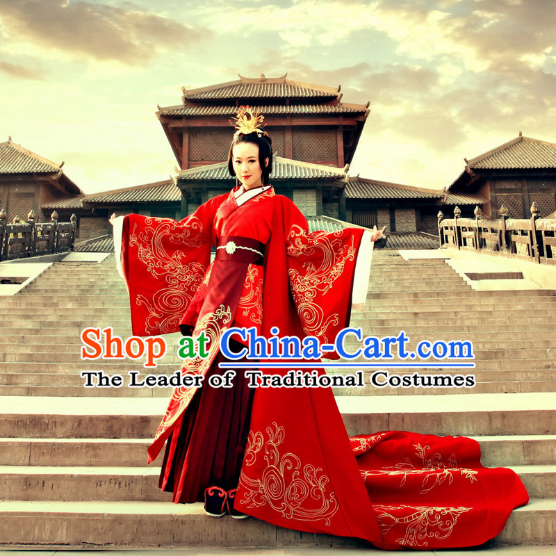Ancient Chinese Princess, Queen Dance Costume, Hanfu, Traditional Red Bride Wedding Dress For Women