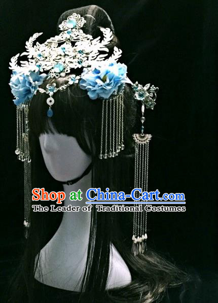 Chinese Traditional Accessories, Chinese Ancient Style Imperial Queen Hair Jewelry Accessories, Hairpins, Headwear, Headdress, Hair Fascinators Set for Women