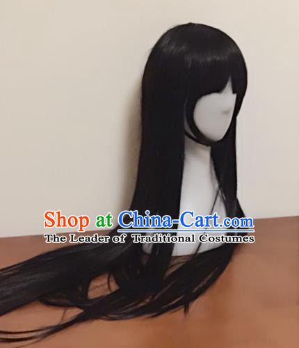 Chinese Traditional Long Wig, Updo Wigs, Lace Front Wigs, Geisha Wig