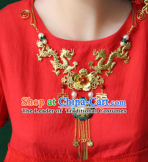 Chinese Imperial Queen Necklace, Empress Necklaces, Imperial Xiuhe Wedding Accessories for Women