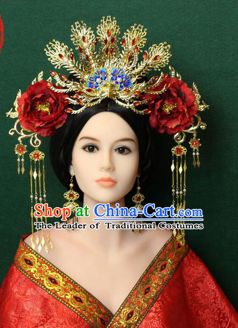 Chinese Ancient Style Hair Jewelry Accessories, Hairpins, Tang Dynasty Xiuhe Suits Wedding Bride Imperial Empress Princess Handmade Phoenix for Women
