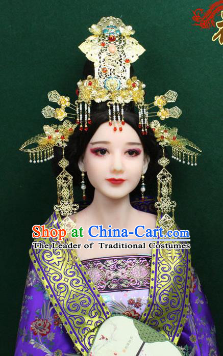 Chinese Ancient Style Hair Jewelry Accessories, Hairpins, Hanfu, Wedding Bride Imperial Empress Handmade Phoenix for Women