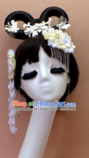 Chinese Ancient Style Hair Jewelry Accessories Hairpins, Tang Dynasty Wedding Bride Imperial Empress Headwear Set for Women
