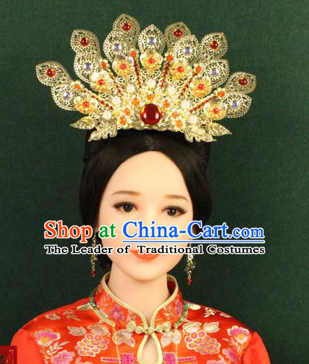 Chinese Ancient Style Hair Jewelry Accessories, Hairpins, Han Dynasty Hanfu Xiuhe Suit Wedding Bride Phoenix Coronet, Hair Accessories for Women