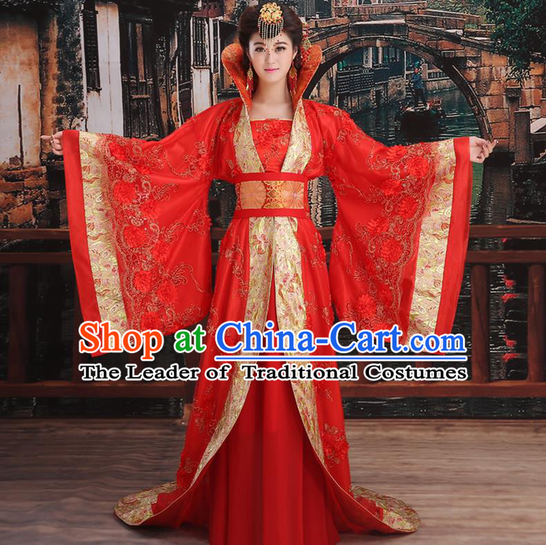 Ancient Chinese Palace Empress Costumes Complete Set, Tang Dynasty Ancient Palace Queen Wedding Dress Suits For Women