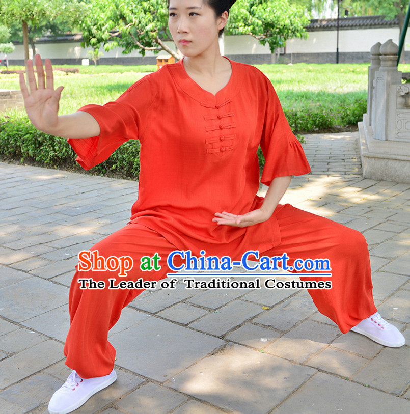 RED Top Kung Fu Flax Clothing Mandarin Costume Jacket Martial Arts Clothes Shaolin Uniform Kungfu Uniforms Supplies for Men Women Adults Children