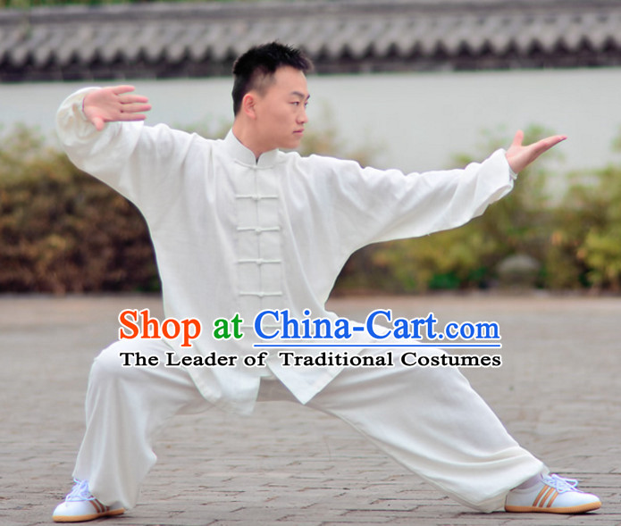 White Top Kung Fu Flax Clothing Mandarin Costume Jacket Martial Arts Clothes Shaolin Uniform Kungfu Uniforms Supplies for Men Women Adults Children