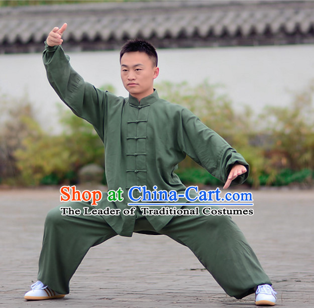 Green Top Kung Fu Flax Clothing Mandarin Costume Jacket Martial Arts Clothes Shaolin Uniform Kungfu Uniforms Supplies for Men Women Adults Children