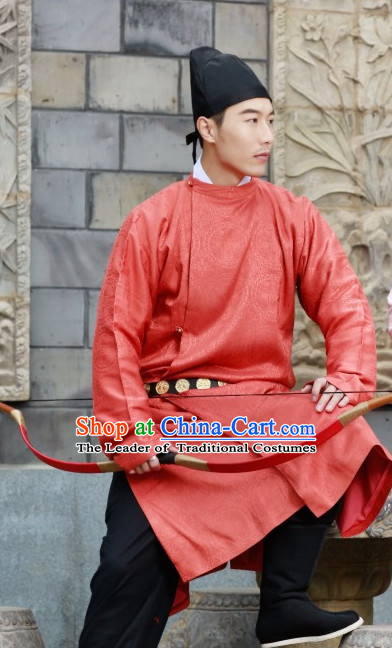 Chinese Style Dresses Kimono Dress Tang Dynasty Outfit and Hat Complete Set for Men