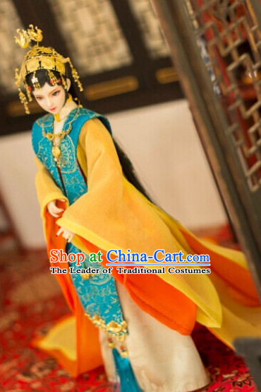 Ancient Chinese Empress Princess Queen Opera Hanfu Clothing and Hair Accessories Complete Set for Women