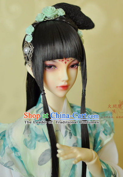 Ancient Chinese Female Princess Black Wigs and Hair Accessories Set