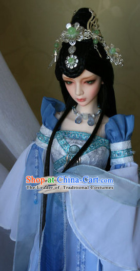 Ancient Chinese Empress Princess Queen Hanfu Clothing and Hair Accessories Complete Set for Women