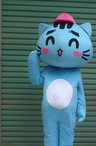 Mascot Uniforms Mascot Outfits Customized Walking Mascot Costumes Blue Cat Mascots Costume