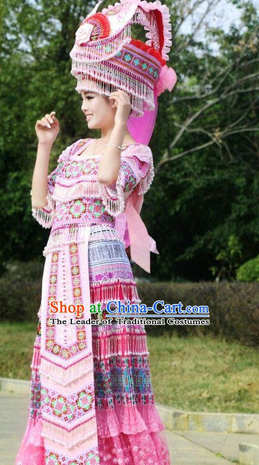 Chinese Traditional Miao Ethnic Clothing and Hat Complete Set for Women