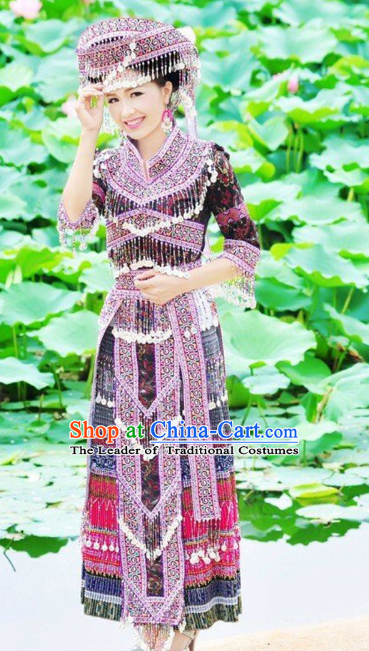 Chinese Traditional Miao Minority Princess Queen Empress Clothes and Headwear Complete Set for Women