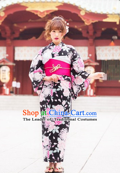 Japanese Traditional Kimono Dresses Complete Set for Women Girls Adults