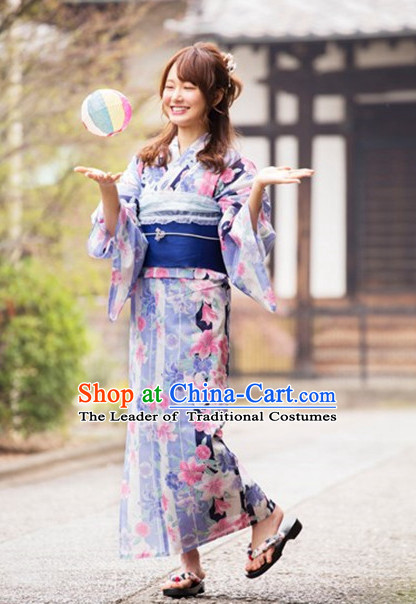 Japanese Traditional Kimono Dress Complete Set for Women Girls Adults