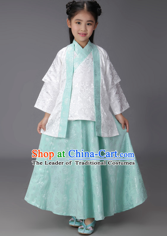Ancient Chinese Classical Hanfu Outfits Clothing Complete Set for Kids Girls