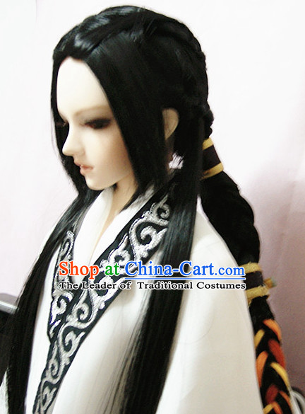 Ancient Chinese Style Black Hair Wigs and Accessories for Men