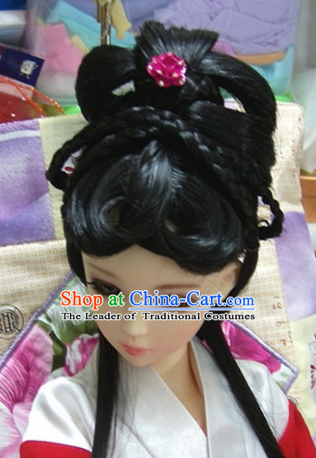Ancient Chinese Style Prince Empress Long Black Wigs for Women Girls Adults Children