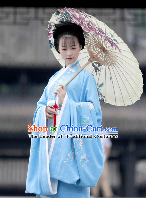 Ancient Chinese Han Dynasty Beauty Hanfu Garment Suits and Hair Accessories Complete Set