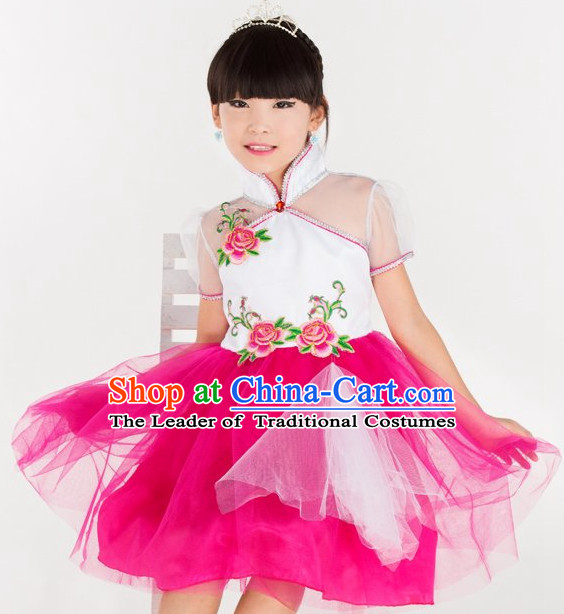 Chinese Folk Dance Costumes for Kids Girls