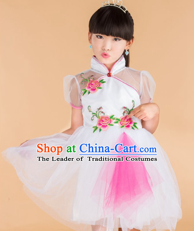 Chinese Folk Dance Costume for Kids Girls