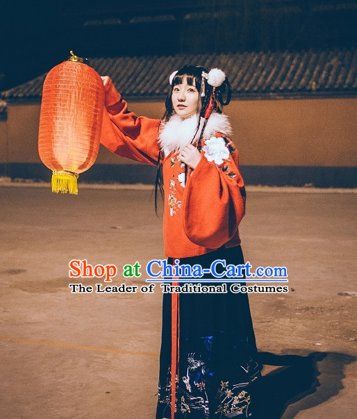 Ancient Chinese Ming Dynasty Princess Han Fu Suits Top and Bottom Clothing Complete Set for Women or Girls