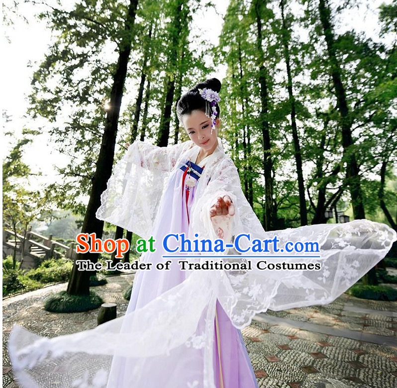 Ancient Chinese Tang Dynasty Clothing and Headpieces Complete Set for Women or Girls