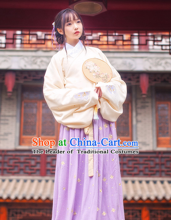 Ancient Chinese Ming Dynasty Princess Clothes Top and Bottom Clothing Complete Set for Women or Girls
