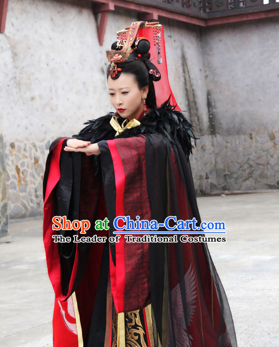 Chinese Ancient Empress Queen Clothing and Hair Accessories Complete Set for Women or Kids