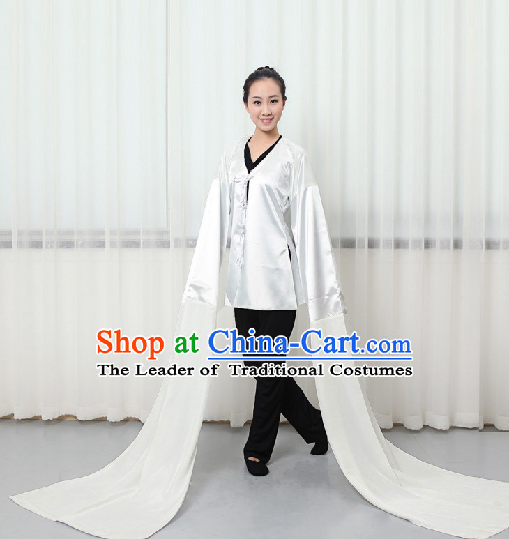 Pure White Professional Chinese Classical Water Sleeve Dance Costumes for Women Adults Kids