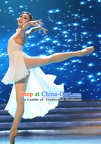 Professional Chinese White Ballet Dance Costume for Women Girls Adults Kids