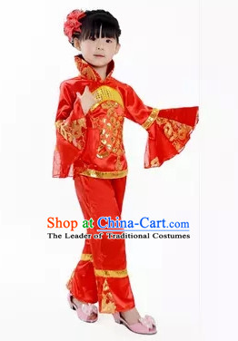 Chinese Folk Spring Festival Dance Costume for Girls Kids Children