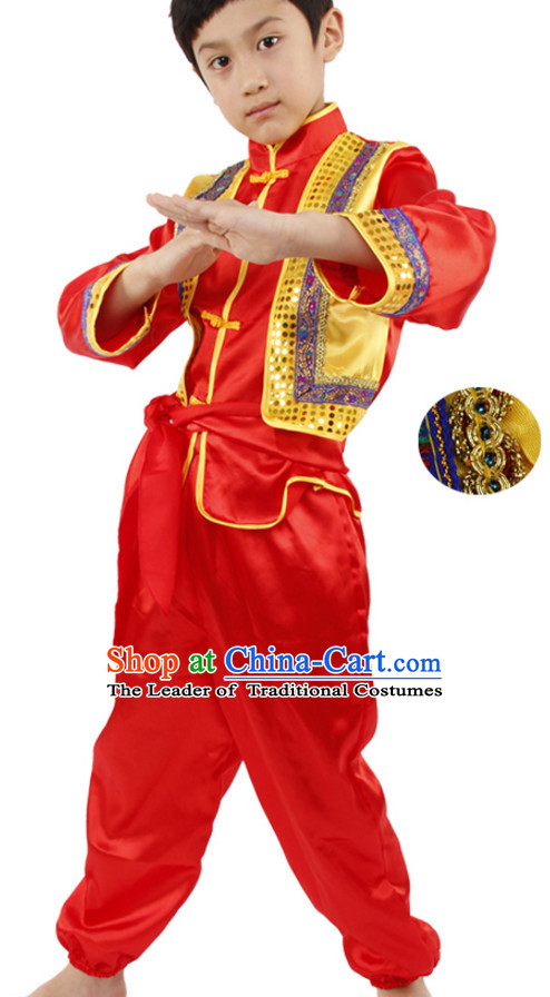 Chinese Folk New Year Dancing Costumes for Boys Kids Children