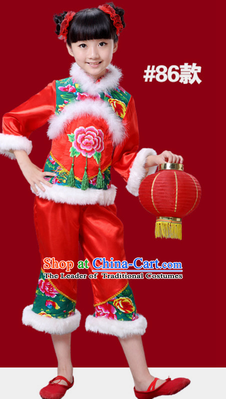 Chinese Traditional New Year Dance Costumes for Girls Kids Children