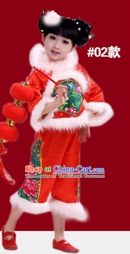 Chinese Traditional New Year Dance Suits for Girls Kids Children