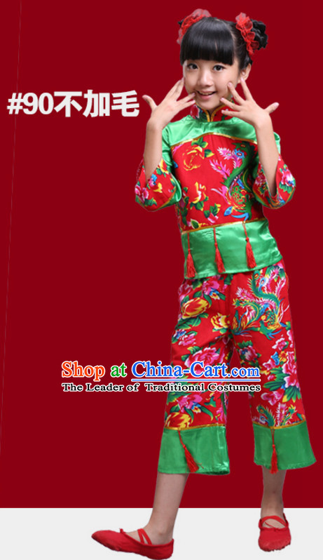 Chinese Traditional New Year Dance Outfits for Girls Kids Children