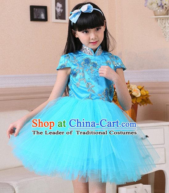 Chinese Traditional Lunar New Year Mandarin Dance Skirts for Girls Kids Children